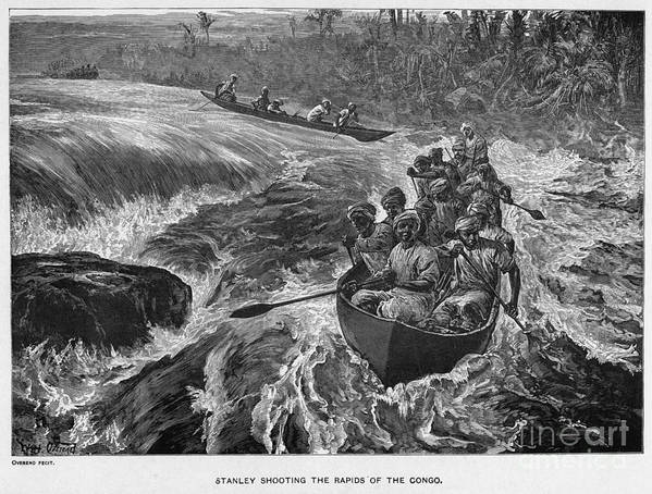 1880 Print featuring the photograph Sir Henry Morton Stanley (1841-1904). English Journalist And Explorer; Wood Engraving, 1880 by Granger