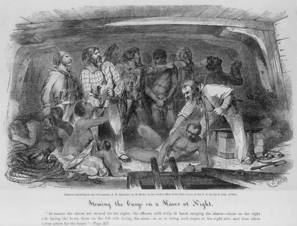 History Print featuring the photograph Stowing African Captives In A Slave by Everett