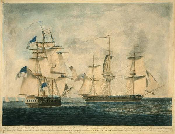 History Print featuring the photograph Uss Chesapeake Vs. Hms Shannon by Everett