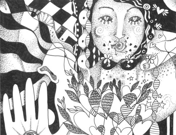 Love Print featuring the drawing Ways Of Seeing by Helena Tiainen
