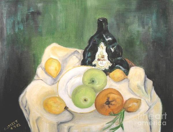 Still Life Print featuring the painting Wine And Fruit by Caroline Street