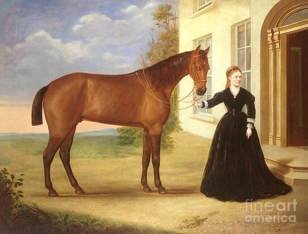 Portrait Print featuring the painting Portrait Of A Lady With Her Horse by English School