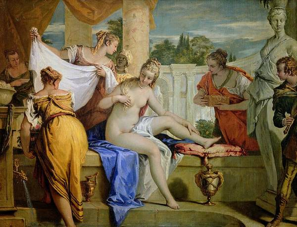 Bathsheba Print featuring the painting Bathsheba Bathing by Sebastiano Ricci