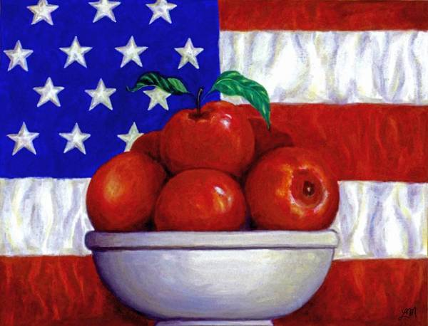 American Flag Print featuring the painting Flag And Apples by Linda Mears