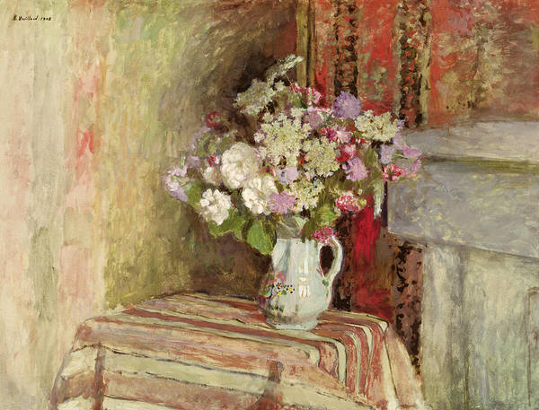 Fleurs Dans Un Vase; Interior; Bouquet; Vase; Arrangement; Still Life; Table; Roses; Lilac; Nabis; Post-impressionist; Interior Print featuring the painting Flowers In A Vase by Edouard Vuillard