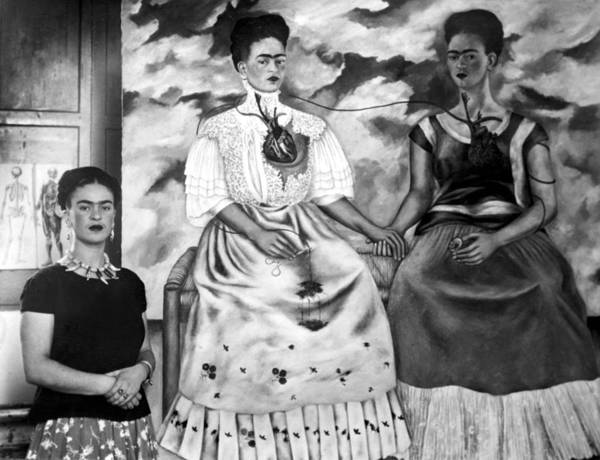 Artist Print featuring the photograph Frida Kahlo Shown With Her Painting Me by Everett