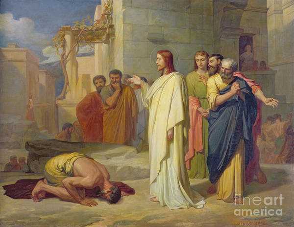 Jesus Print featuring the painting Jesus Healing The Leper by Jean Marie Melchior Doze