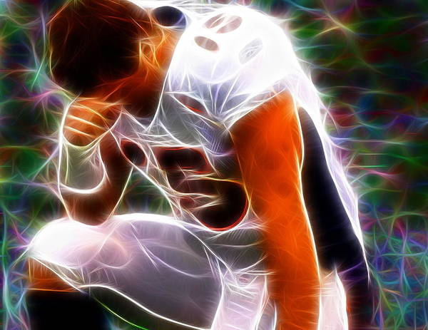 Tim Tebow Print featuring the painting Magical Tebowing by Paul Van Scott