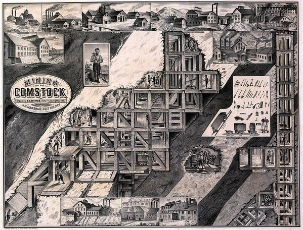 1870s Print featuring the photograph Mining On The Comstock, Cutaway by Everett