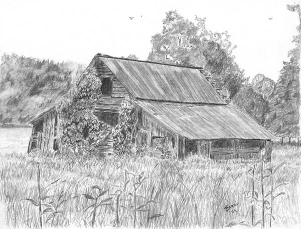 Barn Print featuring the drawing Old Barn 4 by Barry Jones