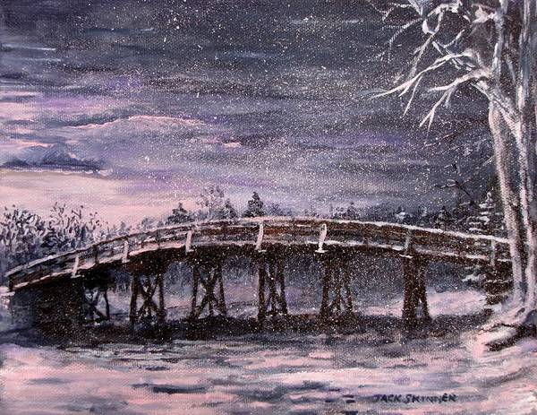 Old North Bridge Print featuring the painting Old North Bridge In Winter by Jack Skinner