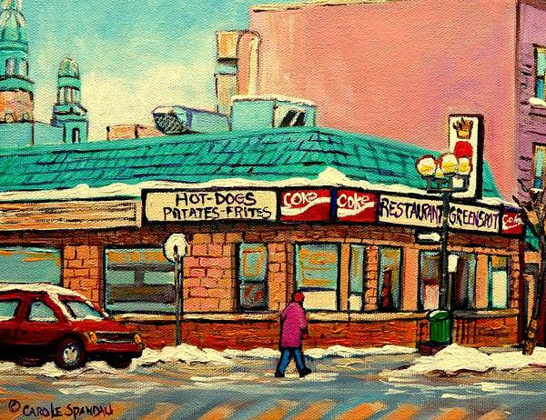 Greenspot Restaurant Deli Print featuring the painting Restaurant Greenspot Deli Hotdogs by Carole Spandau