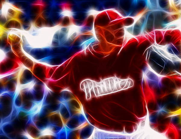 Royhalladay Print featuring the digital art Roy Halladay Magic Baseball by Paul Van Scott