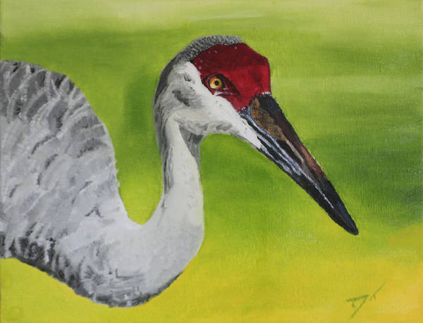 Bird Print featuring the painting Sandhill Crane by D Turner