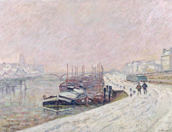 Snow Print featuring the painting Snow In Rouen by Jean Baptiste Armand Guillaumin