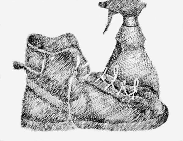 Pen Print featuring the drawing Still Life With Shoe And Spray Bottle by Michelle Calkins