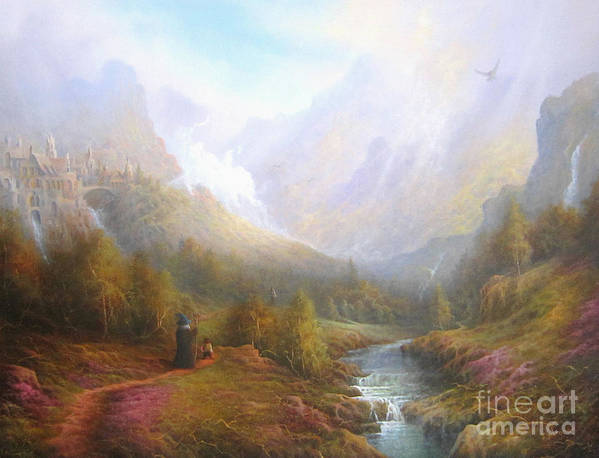 Tolkien Print featuring the painting The Misty Mountains by Joe Gilronan