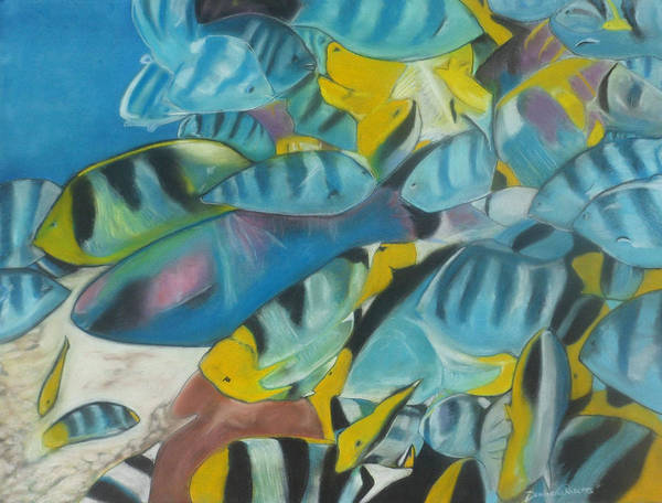 Fish Print featuring the painting Under The Sea by Demitrius Roberts