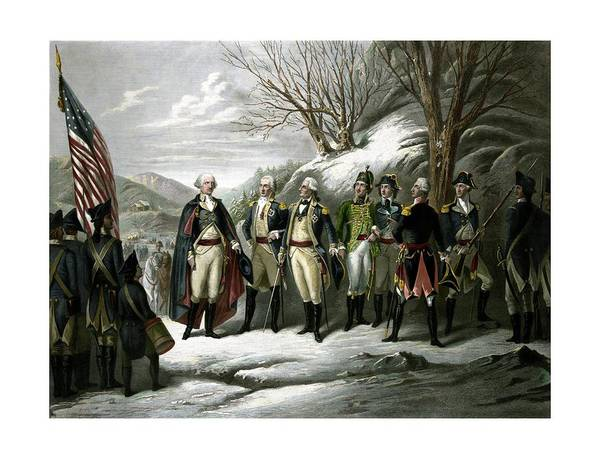 George Washington Print featuring the painting Washington And His Generals by War Is Hell Store