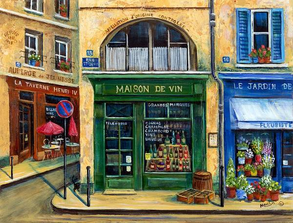 French Street Scene Print featuring the painting Wine And Flowers by Marilyn Dunlap