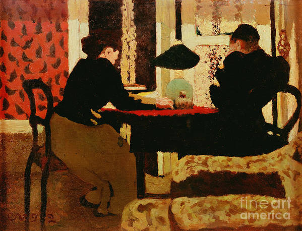 Women Print featuring the painting Women By Lamplight by vVuillard
