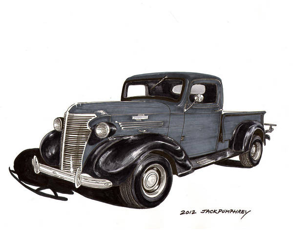 Framed Art Prints Of 1938 Chevrolet Pickup Trucks Print featuring the drawing 1938 Chevy Pickup by Jack Pumphrey