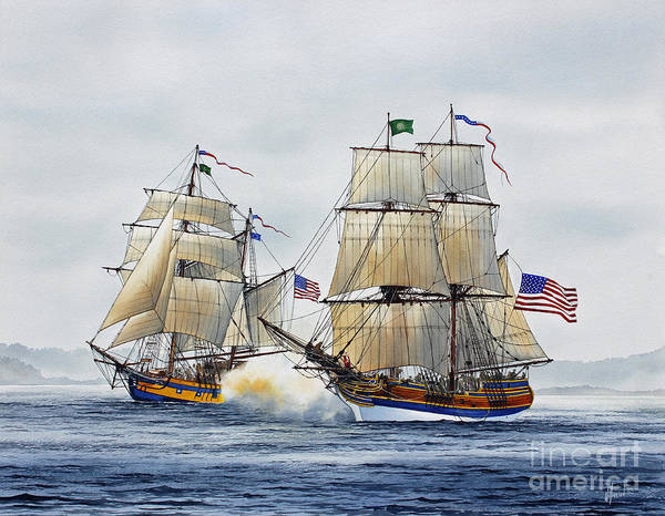 Tall Ship Print featuring the painting Battle Sail by James Williamson
