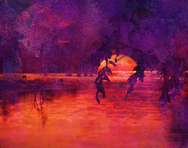 J Larry Walker Print featuring the digital art Bleeding Sunrise Abstract by J Larry Walker