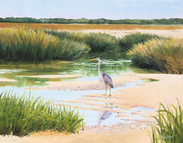 Marsh Print featuring the painting Blue Heron by Karol Wyckoff