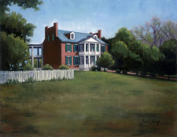 Carnton Plantation Print featuring the painting Carnton Plantation In Franklin Tennessee by Janet King
