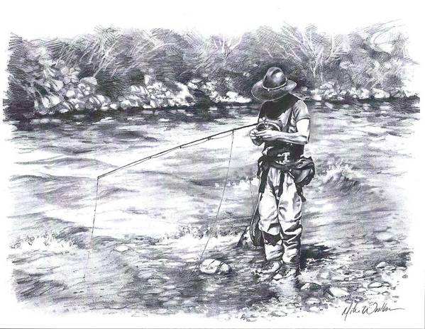 Flyfishing Print featuring the drawing Change Up by Mike Worthen