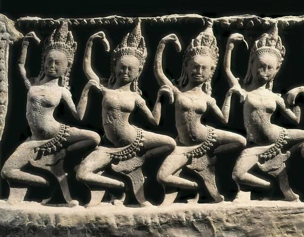 Horizontal Print featuring the photograph Dancing Apsaras. 13th C. Khmer Art by Everett