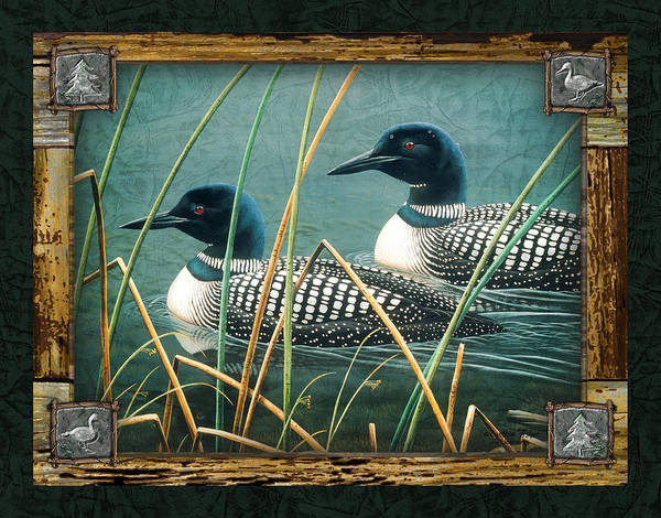 Cynthie Fisher. Jq Licensing Print featuring the painting Deco Loons by JQ Licensing