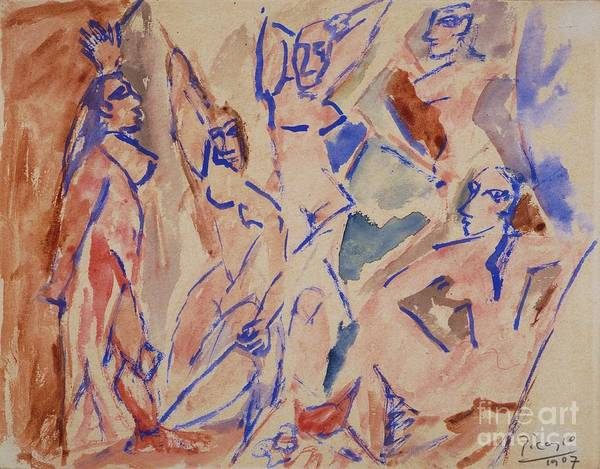 Pd Print featuring the painting Five Nudes Study by Pg Reproductions