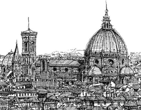 Florence Print featuring the drawing Florence Duomo In Ink by Adendorff Design