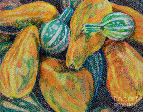 Gourd Print featuring the painting Gourds For Sale by Janet Felts