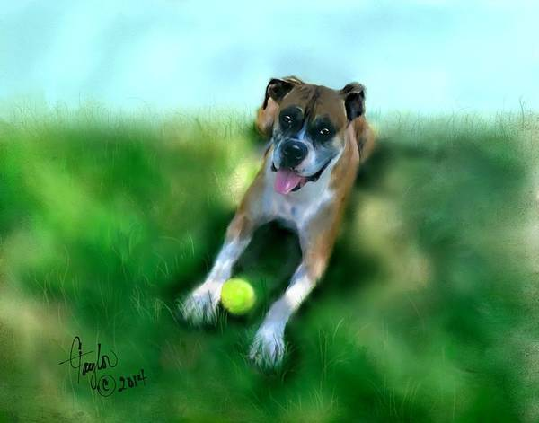 Dogs Print featuring the painting Gus The Rescue Dog by Colleen Taylor