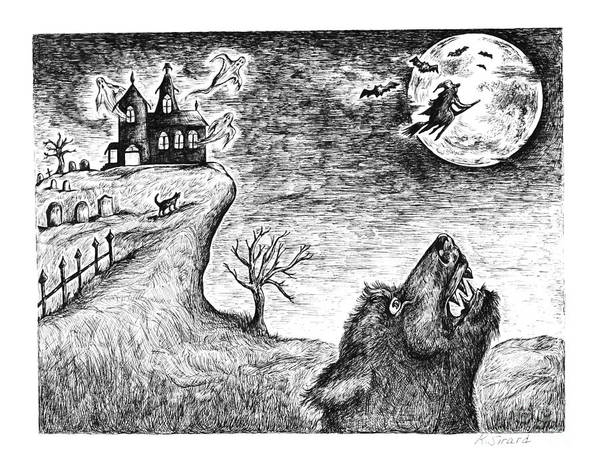 Werewolf Print featuring the drawing Hallows Eve by Karen Sirard