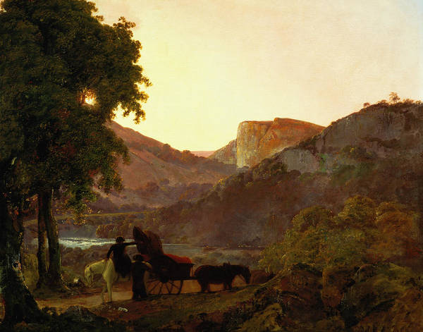 Dusk Print featuring the painting Landscape by Joseph Wright of Derby