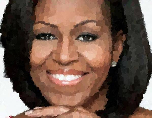 Michelle Print featuring the painting Michelle Obama by Samuel Majcen