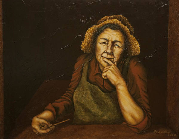 C Michael French Portraits Print featuring the painting Mrs. Zackaharia by C Michael French