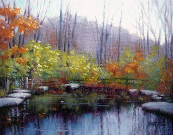 Autumn Print featuring the painting Nature Center Pond At Warner Park In Autumn by Janet King