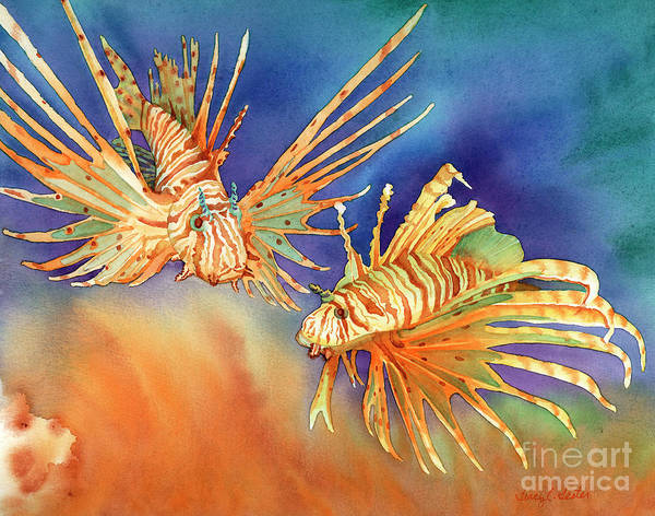 Lionfish Print featuring the painting Ocean Lions by Tracy L Teeter