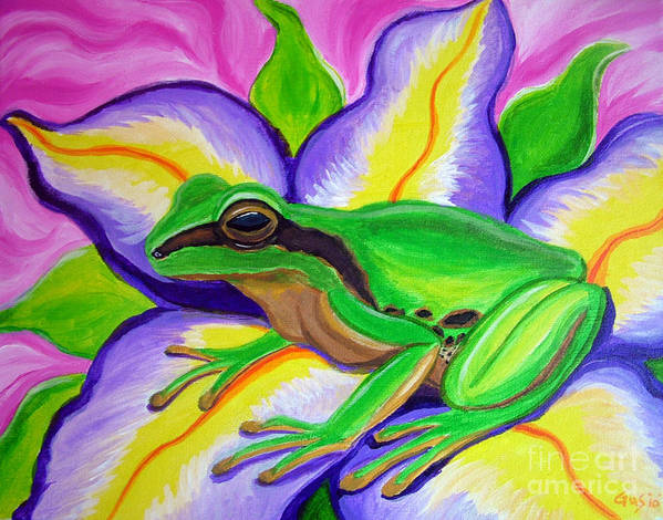 Pacific Tree Frog Print featuring the painting Pacific Tree Frog And Flower by Nick Gustafson