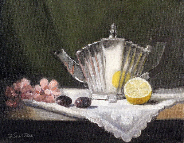 Silver Teapot Print featuring the painting Pleated Teapot With Lemon by Sarah Parks