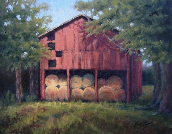 Barn Print featuring the painting Tennessee Barn With Hay Bales by Janet King
