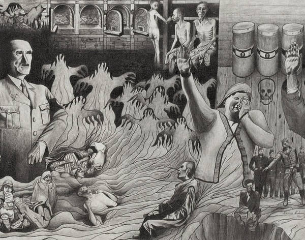 History Art Print featuring the drawing The Holocaust by Dennis Nadeau