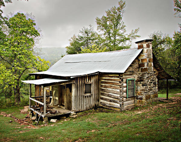 Log Cabin Print featuring the photograph 1209-1144 Historic Villines Homestead by Randy Forrester