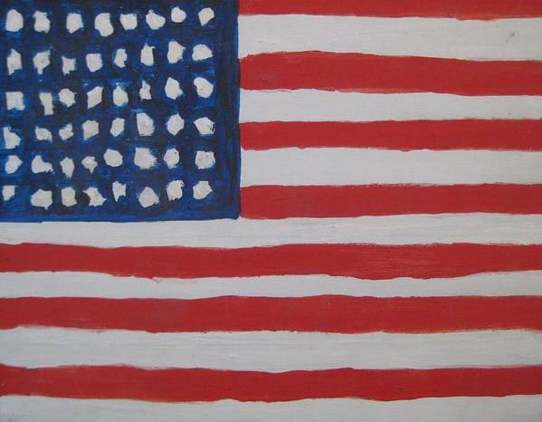 Flag Print featuring the painting Untitled by Iris Gill