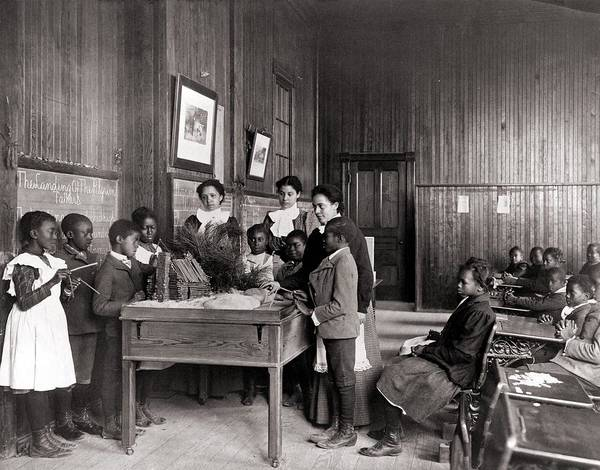 History Print featuring the photograph African American Children Learning by Everett